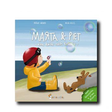 """Produktbild vom Buch """"Marta & Piet Teil 2"""". Man sieht ein Mädchen in einem gelbem Mantel Seifenblasen machen."""