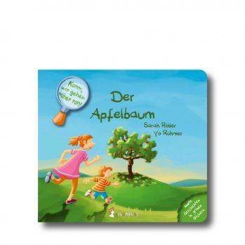 """Produktbild vom Buch """"Der Apfelbaum"""". Man sieht eine Frau mit einem Jungen auf einen Apfelbaum zurennen."""