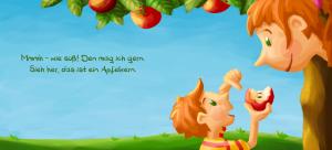 Innenseite: Komm, wir gehen näher ran! Der Apfelbaum