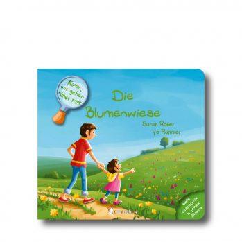 """Produktbild vom Buch """"Die Blumenwiese"""". Man sieht eine Frau mit Kind vor einer Blumenwiese stehen."""