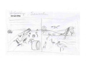 """Bleistiftskizze S.3 zu """"Was macht der Storch in Winter"""""""