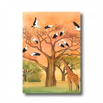 """Postkarte """"Störche in Afrika"""". Man sieht Störche auf eime Baum sitzen. Darunter eine Giraffe."""