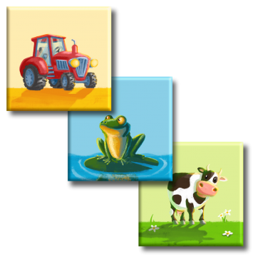 Leinwand: Frosch, Traktor, Kuh