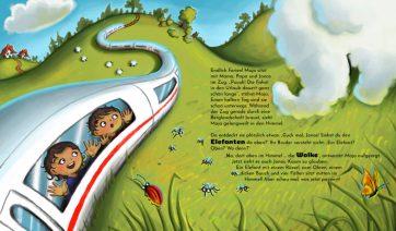 """Innenseite vom Buch """"Wolkenzoo & Donnerwetter. Wie der Regen in den Himmel kommt."""" Man sieht einen Zug, aus dem zwei Kinder ganz aufgeregt eine Wolke in Form eines Elefanten beobachten."""