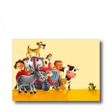 """Postkarte """"Bauernhof"""" mit Spruch: Fantasie bringt dich überall hin. Man sieht einen Traktor und mehrere Tiere"""