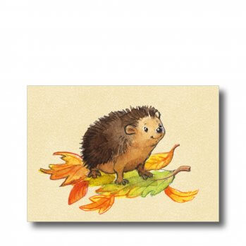 """Postkarte """"Igel"""". Man sieht einem Igel auf ein paar bunten Blättern."""