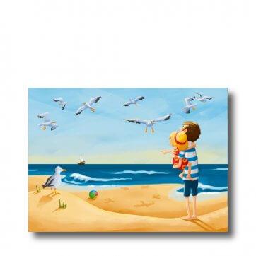 """Postkarte """"Meer"""". Man sieht einen Vater mit seinem Kind auf dem Arm am Strand stehen."""