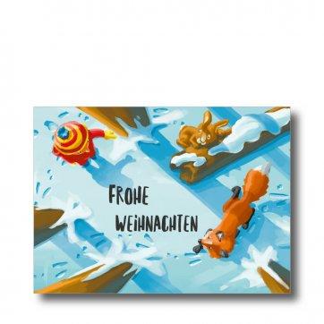 """Postkarte """"Winterwald"""" mit Platz für eigenene Gruß. Man sieht ein Kind, einen Fuchs und einen Hasen im verschneiten Wald."""