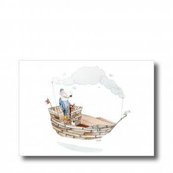 """Postkarte """"Seebär"""". Man sieht einen Seemann, pfeiferauchend auf seinem Kutter."""