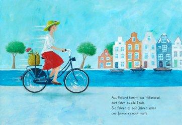 """Innenseite von """"Rauf aufs Fahrrad, fertig, los! Eine bunte Radpartie."""" Es ist eine Frau auf einem Hollandrad zu sehen."""