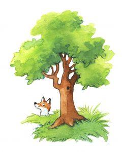 Motiv aus: Schwimm, kleines Boot. Man sieht einen Fuch, der aus dem Gebüsch unter einem Baum hervorschaut.