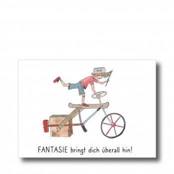 """Postkarte """"Fahrrad"""" mit Spruch: Fantasie bringt dich überall hin. Man sieht ein Kind auf einem Fantasiefahrrad"""