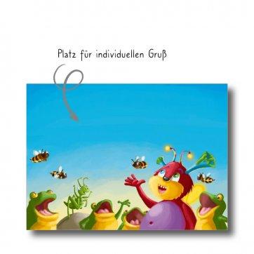 """Postkarte """"Das Hummeling"""" mit Platz für eigenene Gruß. Man sieht das Hummeling und einen Froschchor."""