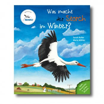 """Produktbild vom Buch """"Was macht der Storch im Winter"""". Man sieht einen fliegenden Storch."""