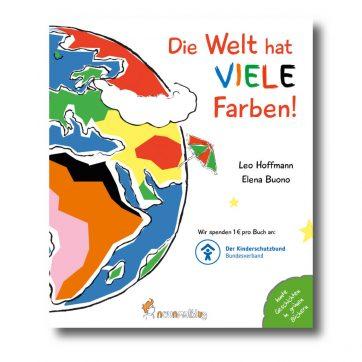 """Produktbild vom Buch """"Die Welt hat viele Farben!"""" Man sieht eine bunte Erdkugel."""