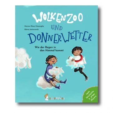 """Produktbild vom Buch """"Wolkenzoo und Donnerwetter. Wie der Regen in den Himmel kommt."""" Man sieht zwei Kinder mit zwei Schäfchenwolken in den Händen"""