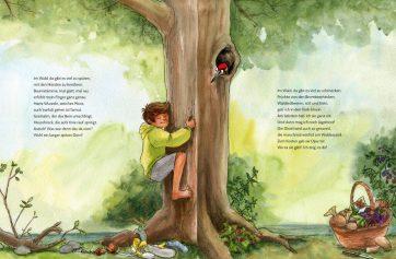 """Innenseite von """"Erlebe den Wald mit allen Sinnen""""."""