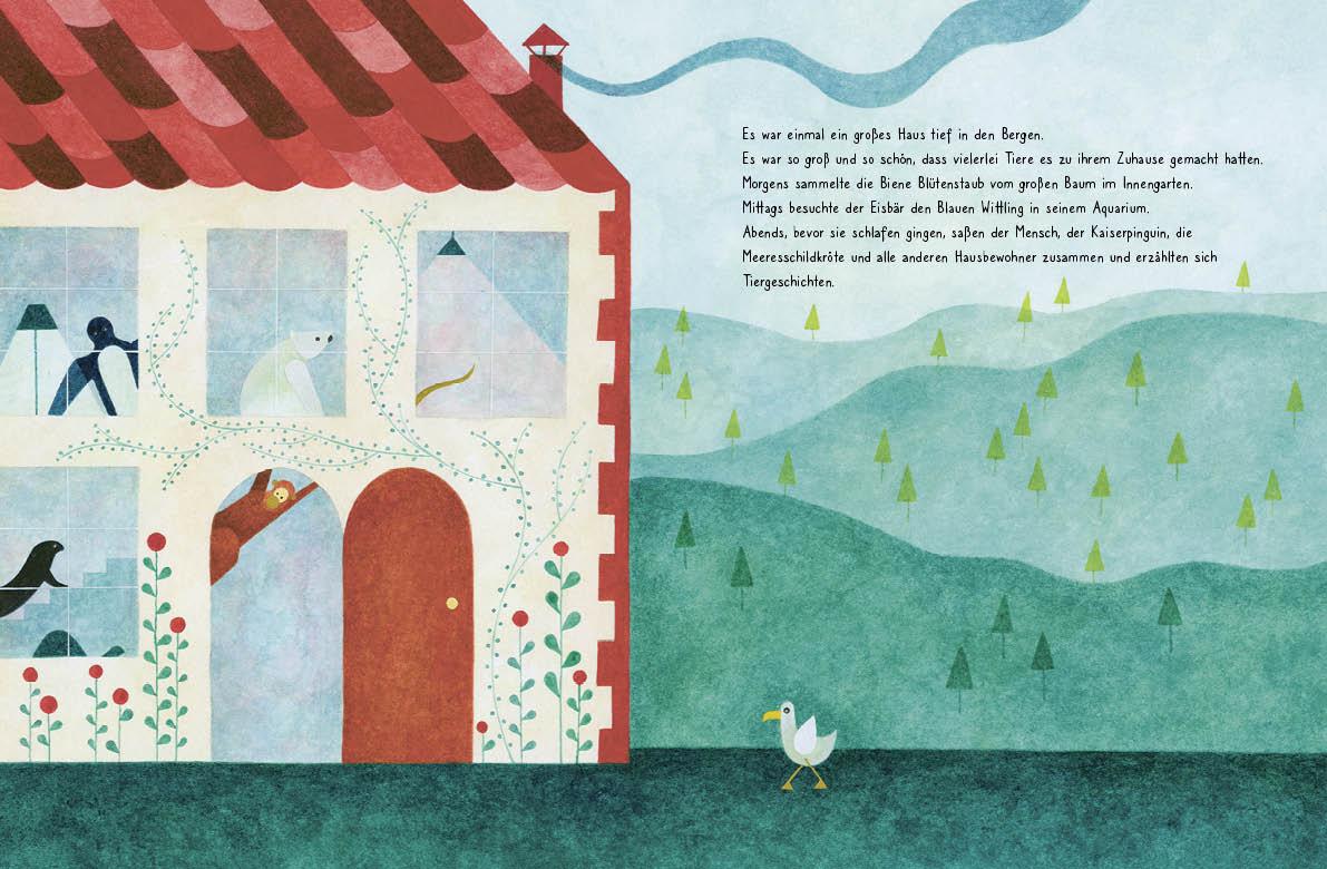 """Innenseite vom Buch """"Es war einmal ein Haus"""". Man sieht ein Haus"""