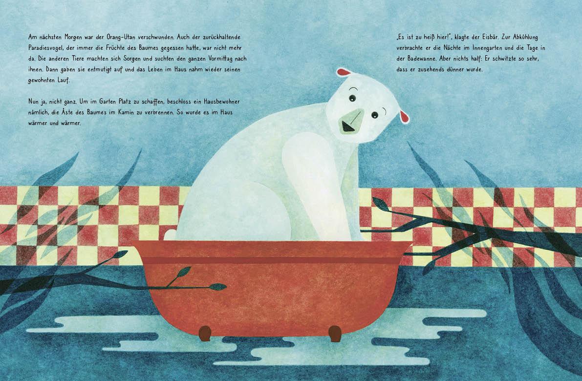 """Innenseite vom Buch """"Es war einmal ein Haus"""". Man sieht einen Eisbären in einer Badewanne sitzend"""